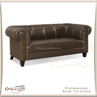 modern design hotel coffee shop leather chesterfield sofa