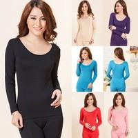 Wholesale 3 Colors OEM Plus Size Luxury Soft Lenzing Modal Thin O-Neck Slim Underwear Women Long Johns Tops only L XL XXL