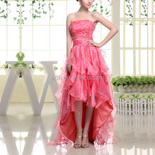 2014 Sexy Ladies short front long back tull strapless asymmetric long pink prom dress with sequins