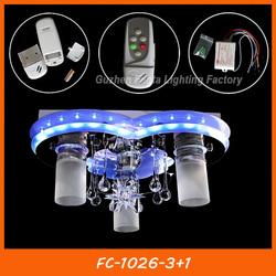 Modern LED crystal heart shape ceiling light remote control FC-1026-3+1