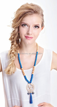 Long wooden beads tassel necklaces with imitation blue pearls and wooden plate pendant 2015 fashion smart