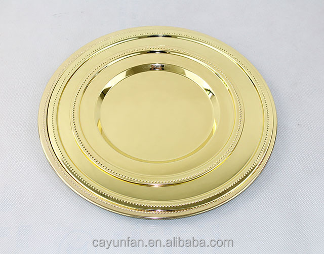 Hot Sale Stainless Steel Gold Dinner Plate Charger Plates Antique Metal Mirro