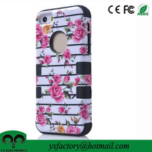 Elegant Flowers 3 in 1 Hybrid High Impact Bumper Hard Back Ulak Phone Case For Apple IPhone 5/5s
