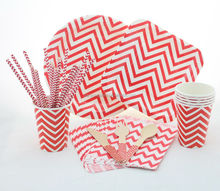 Promotion Tableware Set Wooden Fork Knife Spoon Paper Straw Plates Cups Napkins Chevron Design Party Supplies