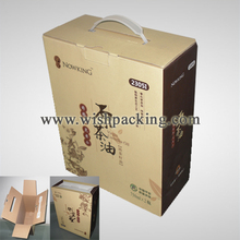 Custom flute carton / corrugated carton with plastic handle