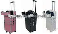 Aluminum trolley makeup case,rolling make up Aluminium dressing case