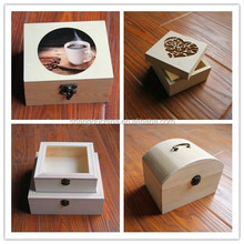 New design high quality small unfinished wooden box for tea craft wine jewelry