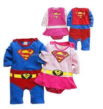 2015 baby COS play rompers long sleeve superman romper + cloak