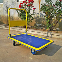 pull four wheels hand trolley simple platform cart