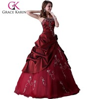 2015 Grace karin long floor length red Prom Wedding Evening Dress Bridal Gown CL2516