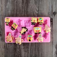 Nicole FDA Eco-friendly SpongeBob Fondant Cake Decoration Silicone Molds Of Cartoon Characters