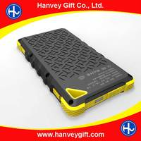 Colorful Overl Water/dirt/shock proof dual usb Portable Solar Power Bank with LED light.