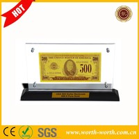 Art craft America USD 500 Gold US banknote, 24k Gold US Banknote with Crystal Acrylic photo Frame 999.9 Pure For Chrismas Gift