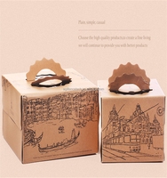 2015 Happy Birthday Kraft Paper Western Painting Cake Box