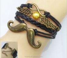 Various Color Fashion Moustache & Wings Leather&Nylon Charm Infinity Bracelet / Bronze Bracelet