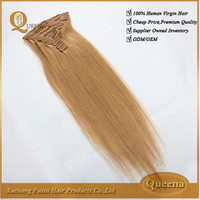 wholesale price different weight blonde color 7 pieces in 1 lpack clip in hair extension