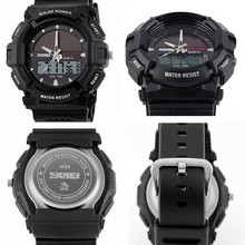 water sports product 5atm water resistant japan quartz/western digital dual movement solar power skmei watch