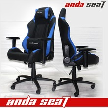 Blue Black PVC Leather Executive Big Boss Revolving Office Chair With Wooden Armrest