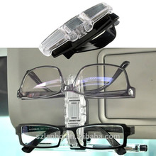 Car Sun Visor Clip Holder For Dual Sunglasses Eyeglass Reading Glasses Card Pen