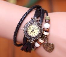 Watch Bracelet Quartz Rivet Women lady men Wristwatches Retro Wrist Band Weave