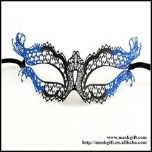 Halloween Design!!! Wholesale High Quality Black Masks Venetian Filigree Masks With Royal Blue Glitter Party Masks MB004-BBK
