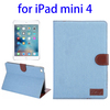 China supplier Denim Texture Leather wallet case for iPad mini 4