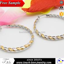 Alibaba Express 316 acero inoxidable arete de las acero inoxidable gold and silver hoop earring