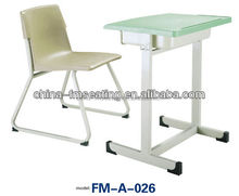 FM-A-026 Steel frame plastic wholesale school chair and table used school furniture for sale