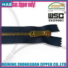 HAS zipper gold zipper Y teeth custom puller sample free eco-friendly zipper company
