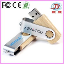 wooden swivel usb flash memory with custom logo