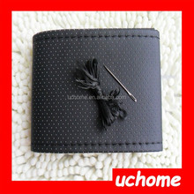 UCHOME Leather DIY Car Steering Wheel Cover with Needles and Thread Black