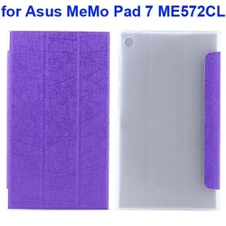 3 Folding Silk Texture Tablet Case for Asus MeMo Pad 7 ME572CL
