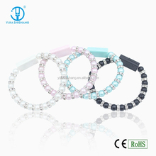China wholesale Colorful Crystal Beads Hand Chain Bracelet USB Sync Data Charging Cable Cords for Samsung Galaxy S3 S4