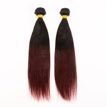 two tone ombre color wholesale raw unprocessed virgin indian hair weaving weft extensions in dubai