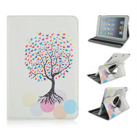 New! Painted Colorful Heart Tree Rotate Stand PU Tablet Leather Case With Elastic Belt For Apple iPad 2 3 4, ipad air, ipad mini