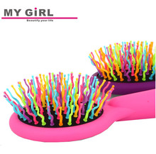 MY GIRL newest high quality rainbow mirror hard bristle comb swarovski crystal hair combs