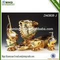 7 banho pedaço conjunto de coleta de material de resina de cor dourada