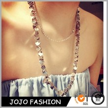 2014 Hot Selling Fashion New Vintage Style Women Silver Multi-Chain Tassel Necklace Long Chain