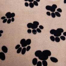 Paw printed micro anti pill fleece fabric