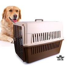 Large Size Dog Flight Carrier Plastic Pet Cage On Wheels