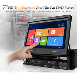 7'' HD touch screen one din car dvd player with adjustable angle panel
