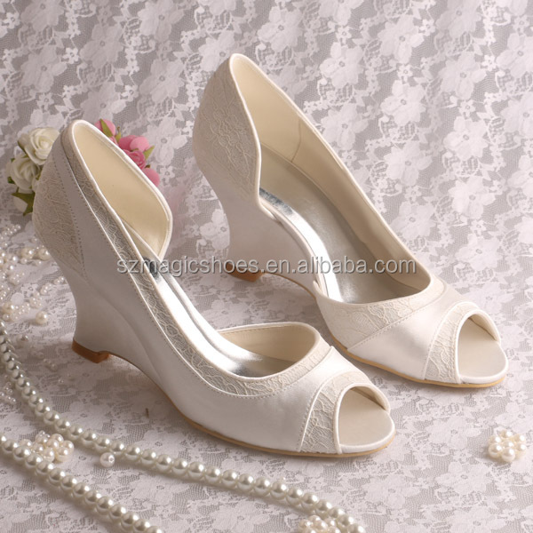 Wedge Heel Bridal Shoes Wedding Pumps Ivory Open Toe View Ivory Wedding Pumps Magic Bride
