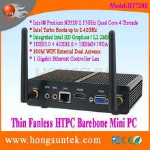 Fanless Barebone Mini Box PC HT720E Intel Pentium N3520 2.17GHz Quad Core 4 Threadswith USB, WiFi ,VGA and COM RS232