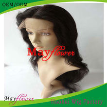 Lace front wig indian remy human hair natural wavy free parts wholesale price