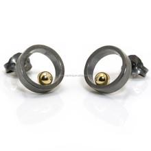 New Trend Design for Men Gold Balll Black Circle Oxidised Stud Earrings