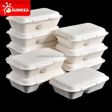 Biodegradable sugar cane pulp food packaging