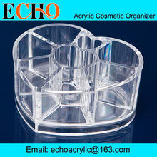 Heart shape clear plastic cosmetic display organizer