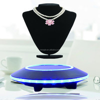 Max load 500 auto free rotation UFO base magnetic floating charm cardboard floor display stand