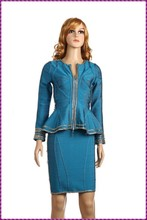 long sleeve corset ruffles OEM mature new design ladies office dress 2015