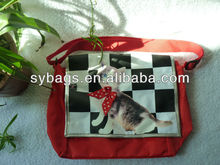 420D polyester cheap school messenger bag for teens